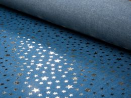 Sparkling Chambray Fabric | Gold Metallic Multi Star on Light Blue