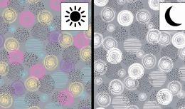 Light Reactive Jersey Fabric | Circles Grey
