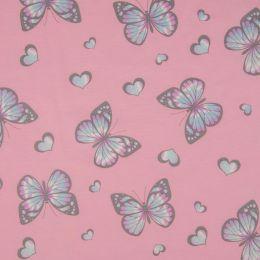 Light Reactive Jersey Fabric   Glitter Butterfly Pink