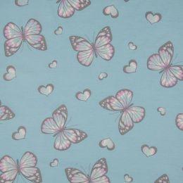 Light Reactive Jersey Fabric   Glitter Butterfly Blue
