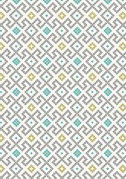 Lindos Fabric | Greek Tiles Grey with Gold