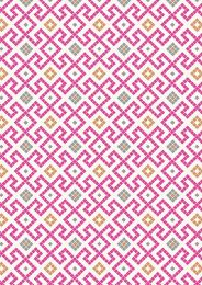 Lindos Fabric | Greek Tiles Pink with Copper