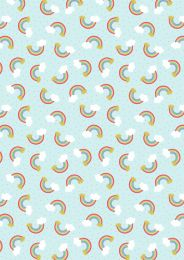 Mystical & Magical Fabric | Rainbows Pale Blue with Gold Metallic