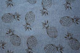 Denim Fabric Print | Pineapple