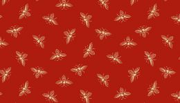 Riviera Rose Fabric   Bee Red