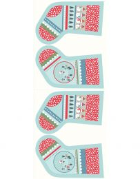 Christmas Panel   Snow Day Stockings Icy Blue