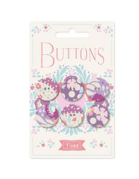 Tilda Plum Garden Fabric Covered Button Pack | Purples 20mm