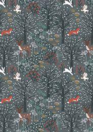 Winter In Bluebell Wood Fabric   Winter Woods Dark Blue