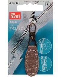 Zip Puller | Imt. Leather Oval Tab - Taupe