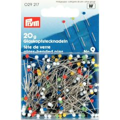 Glass Headed Tailoring & Dress Pins, Asst Cols 20g carded | Prym