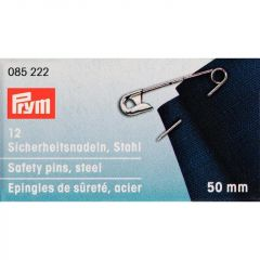 Safety Pins Silver 50mm, 12pcs Sliding Box | Prym