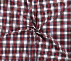 Premium Scottish Check Fabric | Wide Width White