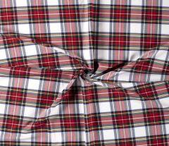 Premium Scottish Check Fabric Light Stretch | White
