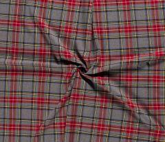 Premium Scottish Check Fabric Light Stretch | Grey Melange