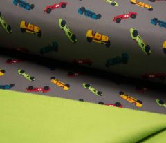 Soft Shell Fleece Fabric | Race Cars Grey