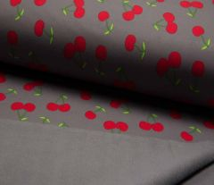 Soft Shell Fleece Fabric | Cherry Grey