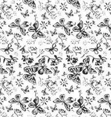 Extra Wide White On White Fabric | Butterfly
