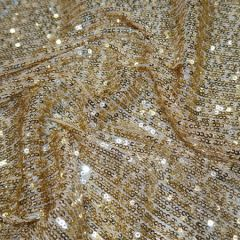 Knitted Sequin Fabric Stripes | Gold