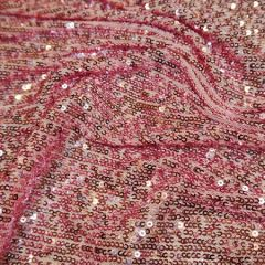 Knitted Sequin Fabric Stripes | Rose