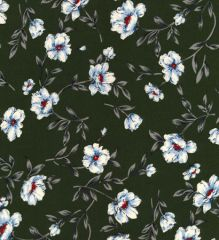 High Twist Winter Crepe Fabric | Floral Green