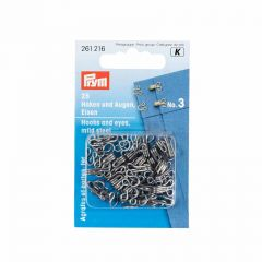 Hooks & Eyes, Steel Size 3 Lrg, Silver, 25pcs   Prym