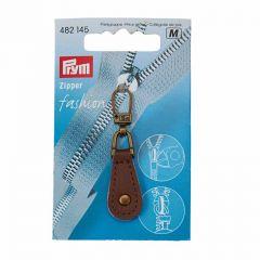Zip Puller   Leather Tab - Brown