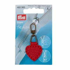 Zip Puller   Imt. Leather Heart - Red