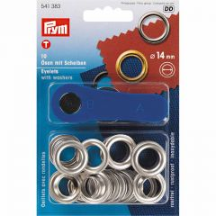 Eyelets With Washer & Tool | 14mm Silver