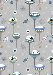 Light Years Glow In The Dark Fabric | Space City Light Grey
