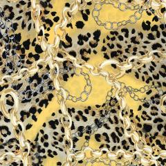 Bubble Chiffon Fabric   Animal Print Yellow