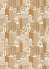 City Nights Fabric   Buildings Copper