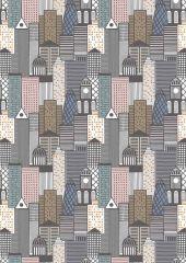 City Nights Fabric   Buildings Copper Multi