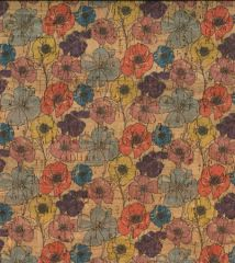 Cork Fabric Print | Multi Poppy