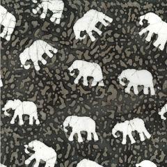 Batik Fabric Design Elephant Indigo