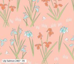 Debbie Shore Lily Pad Fabric   Lily Salmon