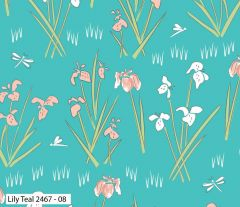 Debbie Shore Lily Pad Fabric   Lily Teal