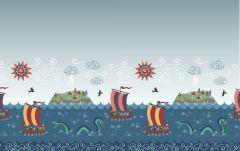 Viking Adventure Fabric | Viking Border Print