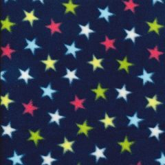 Printed Anti Pil Polar Fleece | Fun Star Navy