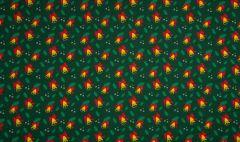 Jersey Cotton Fabric | Christmas Bells Green