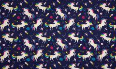 Jersey Cotton Fabric | Unicorn Navy