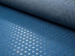 Sparkling Chambray Fabric | Gold Metallic Anchors on Blue