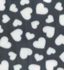 Printed Anti Pil Polar Fleece | Multi Heart Grey