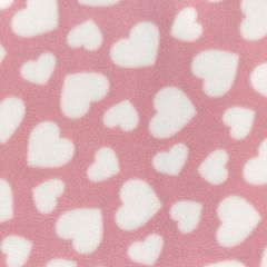Printed Anti Pil Polar Fleece | Multi Heart Pink