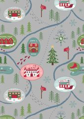 North Pole Christmas | Santa Map On Dark Silver