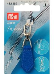 Zip Puller   Imt. Leather Chevron - Mid Blue
