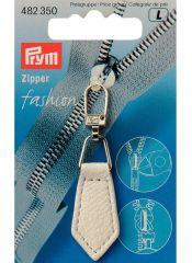 Zip Puller   Imt. Leather Chevron - White