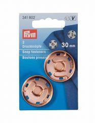 30mm Rose Gold Snap Fasteners, Metal   Prym