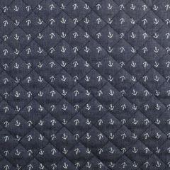 Quilted Denim | Anchors Dark Blue