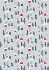 Snow Day Fabric | Christmas Houses Silver