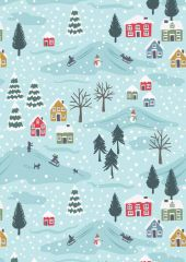 Snow Day Fabric | Snow Day Scene Icy Blue